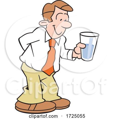 Cartoon Optimistic Business Man Holding a Glass Half Full by Johnny Sajem