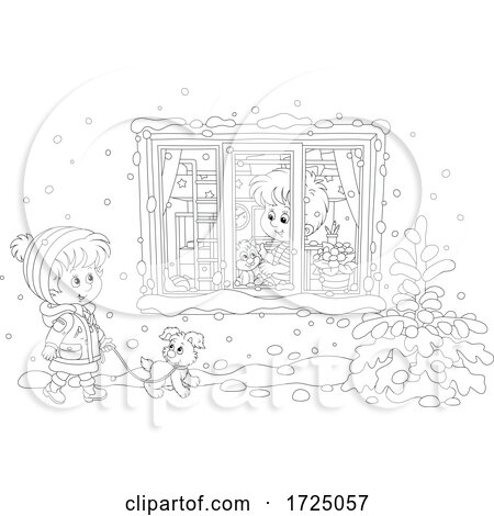 Girl Walking Her Puppy in the Snow by a Boy with His Cat in a Window by Alex Bannykh