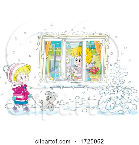 Girl Walking Her Dog in the Snow by a Boy with His Cat in a Window by Alex Bannykh