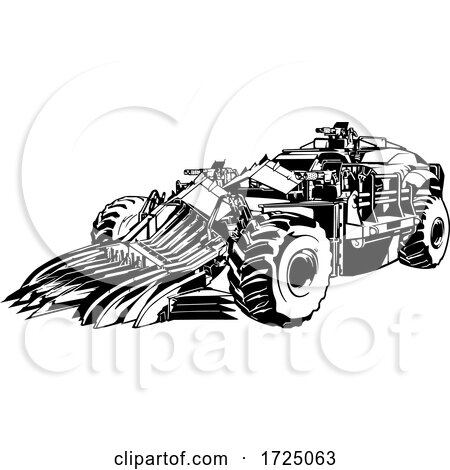 Black and White Armored Post Apocalyptic Car Posters, Art Prints