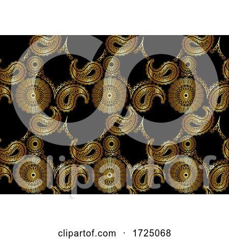 Seamless Gold Mandala Paisley Pattern by dero