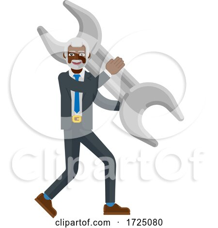 Mature Black Business Man Holding Spanner Wrench by AtStockIllustration