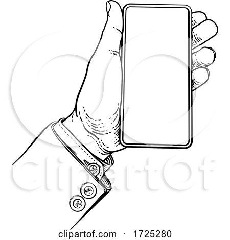 Business Suit Vintage Hand Holding Mobile Phone by AtStockIllustration
