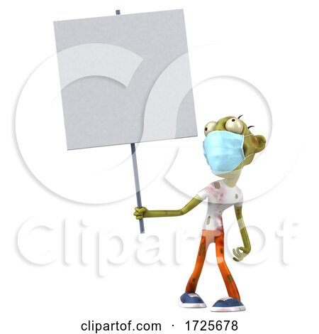 3d Green Zombie, on a White Background by Julos