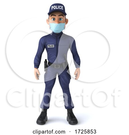 3d Police Man Wearing a Mask on a White Background by Julos