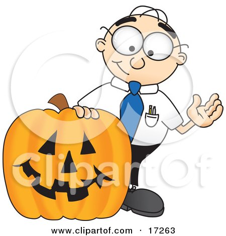 Clipart Picture of a Male Caucasian Office Nerd Business Man Mascot Cartoon Character With a Carved Halloween Pumpkin by Toons4Biz