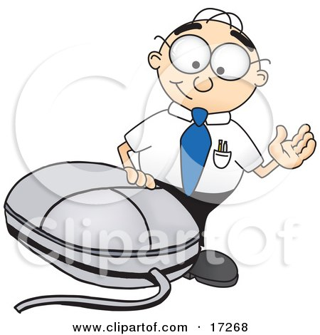 Male Caucasian Office Nerd Business Man Mascot Cartoon Character Waving and Standing by a Computer Mouse Posters, Art Prints