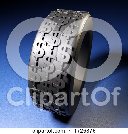 3d Vehicles Rubber Tyre with US Dollar Symbols Embedded in Tread Grip by Steve Young