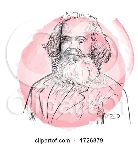 Hand Drawn Portrait of Karl Marx by Domenico Condello