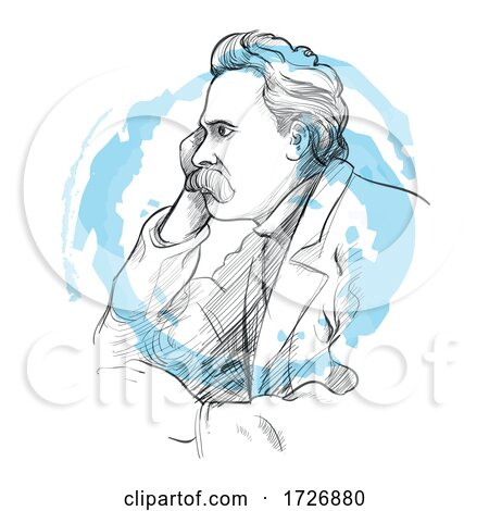 Hand Drawn Portrait of Friedrich Nietzsche by Domenico Condello