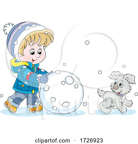 Boy and Puppy Making a Giant Snowball or Snowman by Alex Bannykh