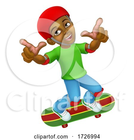 Boy Kid Child on Skateboard Skateboarding Cartoon Posters, Art Prints