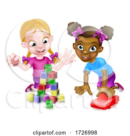 Girls Playing with Building Blocks and Car Posters, Art Prints
