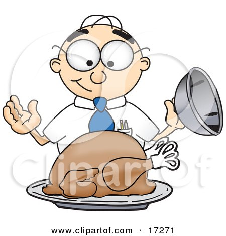 Clipart Picture of a Hungry Male Caucasian Office Nerd Business Man Mascot Cartoon Character Eyeing a Cooked Thanksgiving Turkey on a Platter by Toons4Biz