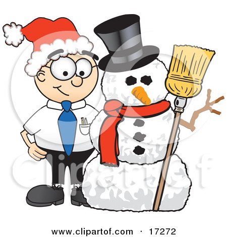 Clipart Picture of a Male Caucasian Office Nerd Business Man Mascot Cartoon Character With a Snowman on Christmas by Toons4Biz