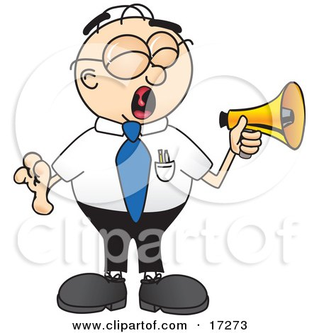 Clipart Picture of a Loud Male Caucasian Office Nerd Business Man Mascot Cartoon Character Screaming Into a Megaphone by Toons4Biz