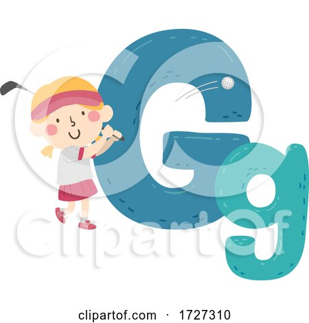 Kid Girl Golf Sport Alphabet Illustration Posters, Art Prints