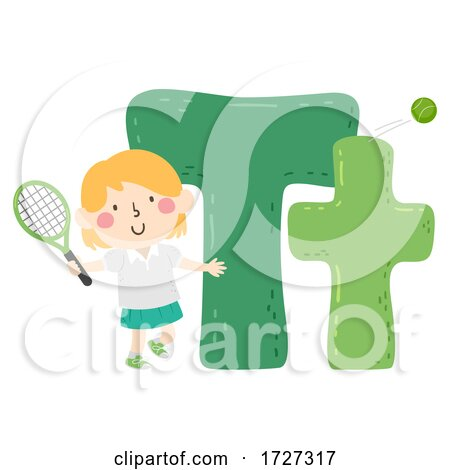 Kid Girl Tennis Sport Alphabet Illustration Posters, Art Prints