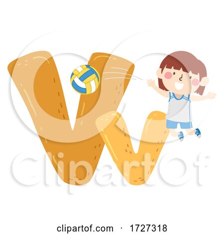 Kid Girl Volleyball Sport Alphabet Illustration Posters, Art Prints
