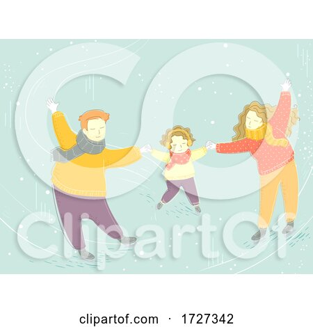 Family Winter Skating Holding Hands Illustration Posters, Art Prints