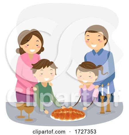 Stickman Family Shabbat Dinner Illustration by BNP Design Studio