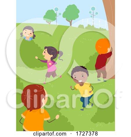 Stickman Kids Hide and Seek Park Outdoor Activity Posters, Art Prints