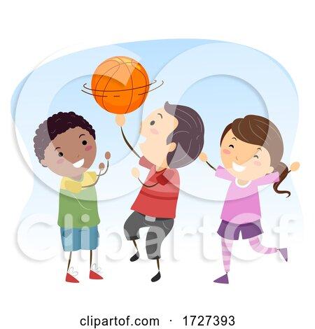Stickman Kids Basketball Ball Spin Illustration Posters, Art Prints