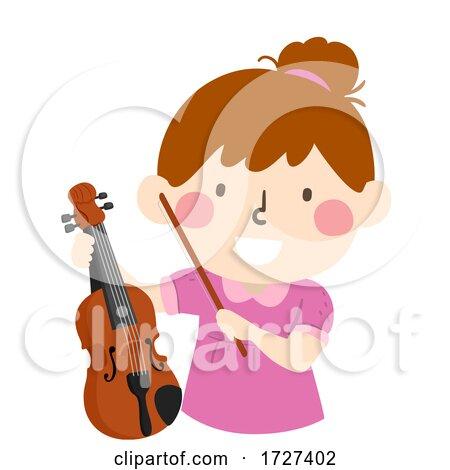Kid Girl Hold Viola Illustration by BNP Design Studio