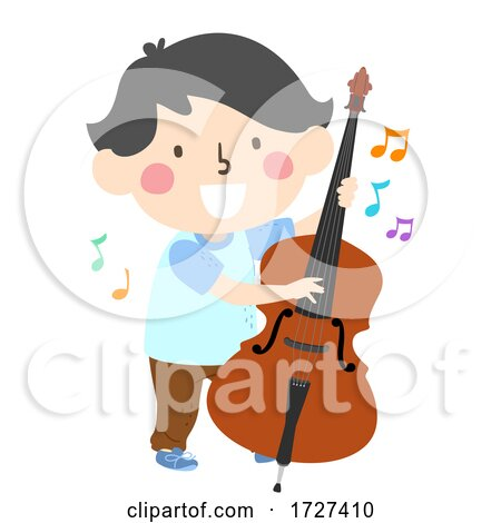 Kid Boy Play Upright Bass Music Notes Illustration Posters, Art Prints