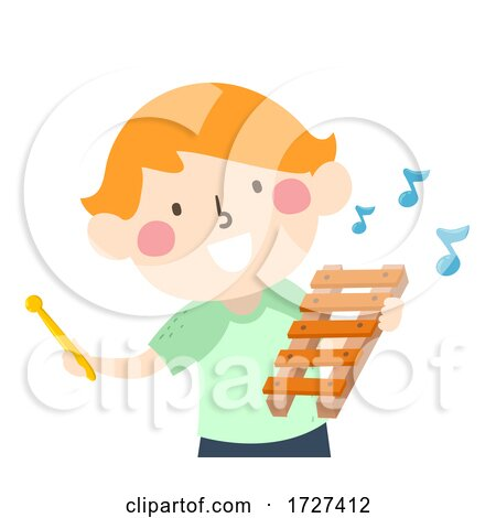 Kid Boy Hold Xylophone Music Notes Illustration Posters, Art Prints