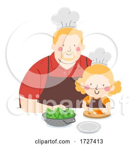 Kid Girl Man Slice Carrots Chef Illustration by BNP Design Studio