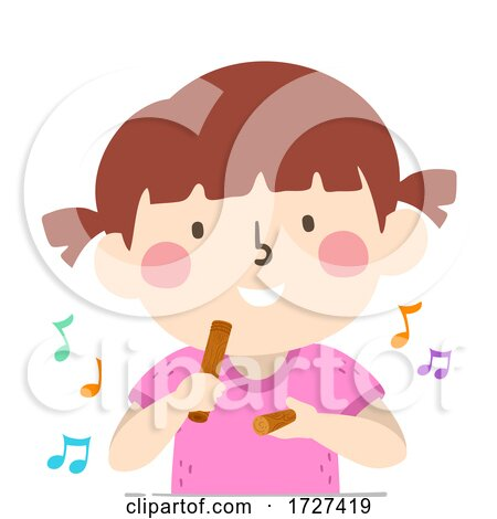 Kid Girl Play Claves Music Notes Illustration Posters, Art Prints