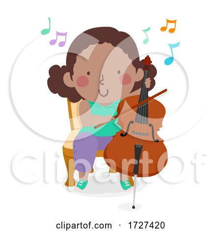 Kid Girl Play Cello Music Notes Illustration Posters, Art Prints