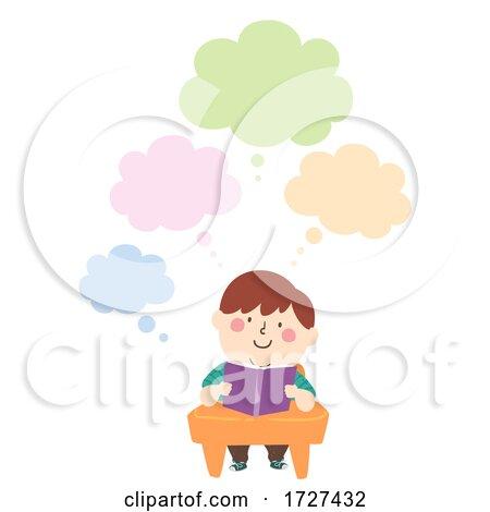 Kid Boy Fat Class Book Thinking Cloud Illustration by BNP Design Studio