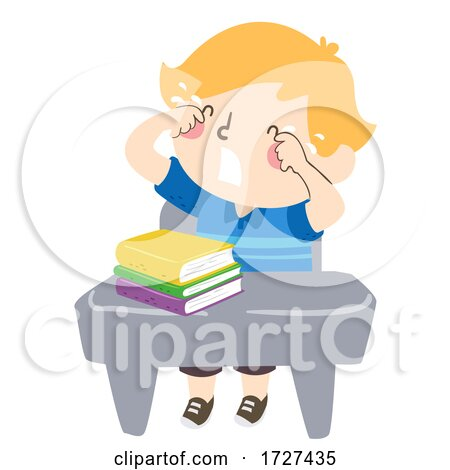 Kid Boy Class Desk Crying Illustration by BNP Design Studio