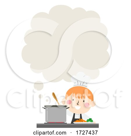 Kid Boy Chef Cooking Thinking Cloud Illustration by BNP Design Studio