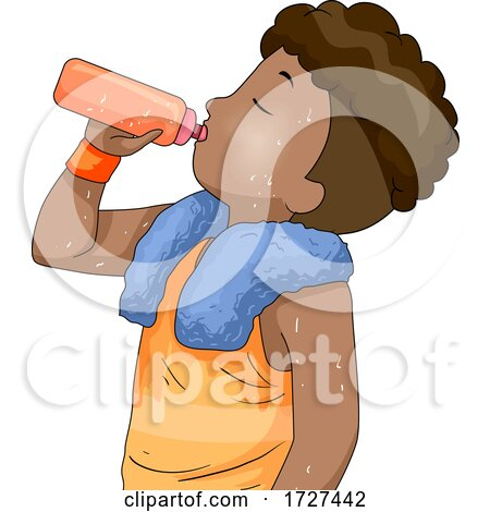 Boy Hydrating After Playing Sports Illustration Posters, Art Prints