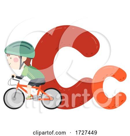 Kid Boy Cycling Sport Alphabet Illustration by BNP Design Studio