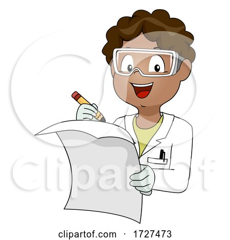 Kid Boy African Lab Coat Paper Illustration Posters, Art Prints