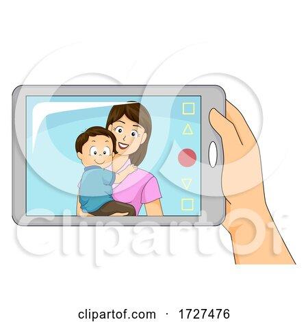 Dad Mother Son Mobile Video Call Illustration by BNP Design Studio