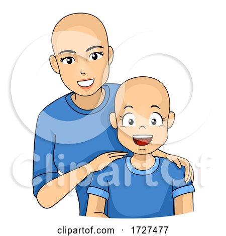 Mom Kid Girl Alopecia Sick Illustration by BNP Design Studio