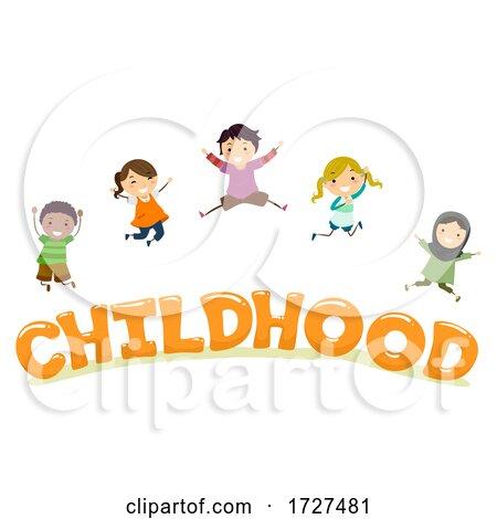 Stickman Kids Childhood Lettering Illustration Posters, Art Prints