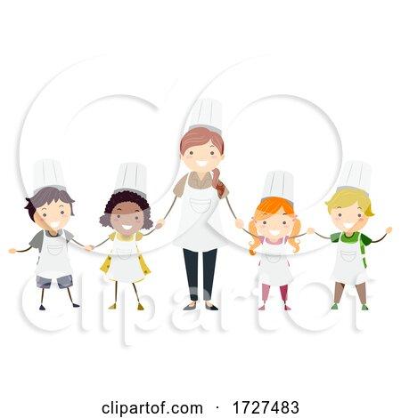 Stickman Kids Chef Teacher Class Illustration by BNP Design Studio
