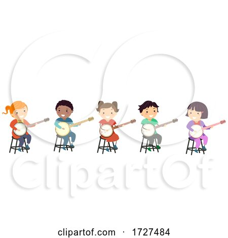 Stickman Kids Banjo Tutorial Class Illustration Posters, Art Prints