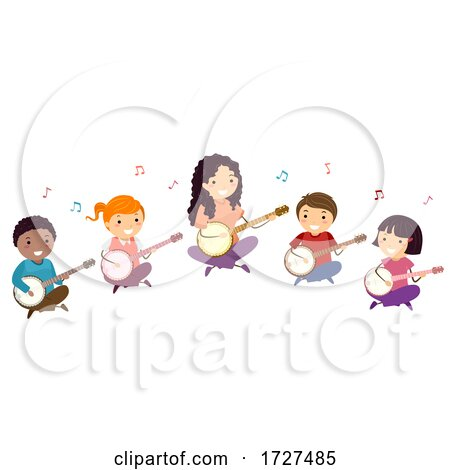 Stickman Kids Banjo Lesson Teacher Illustration Posters, Art Prints