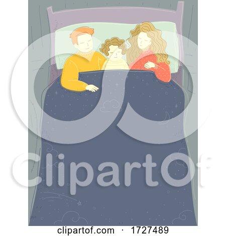 Family Asleep Bed Kid Boy Middle Illustration by BNP Design Studio