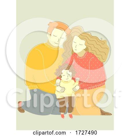 Family Dad Mom Hug Child Kid Girl Illustration by BNP Design Studio
