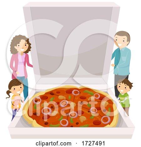 Stickman Family Big Pizza Box Illustration by BNP Design Studio