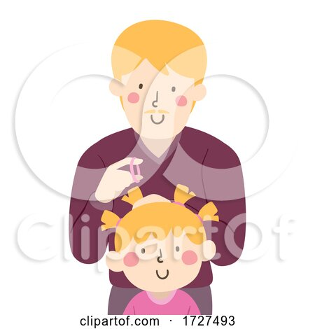 Dad Kid Girl Parent Fix Hair Illustration by BNP Design Studio