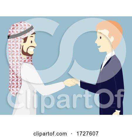 Men Arab Business Man Shake Hands Illustration Posters, Art Prints